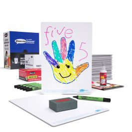 Show-me Supertough Bulk Buy Drywipe Board Pack with Pens and Erasers - 100 Sets with FREE Teachers' Resources Booklet