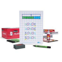 Show-me Class Pack Drywipe Boards with Pens and Erasers - Gridded/Plain, A4 - 35 sets with FREE Teachers' Resources Booklet