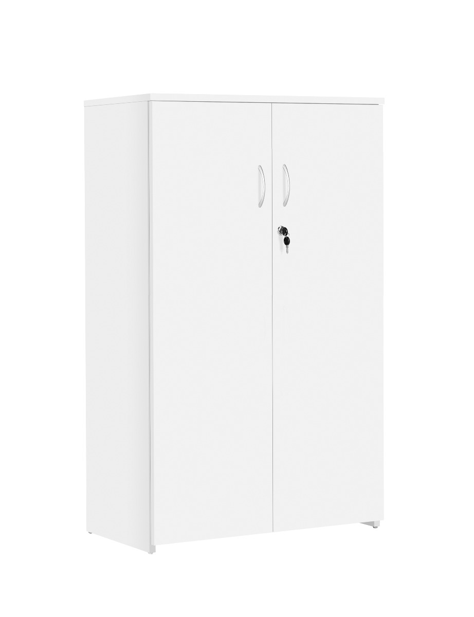 TC Office Next Day Eco 18 MFC White Office Cupboard with Shelf-1200mm