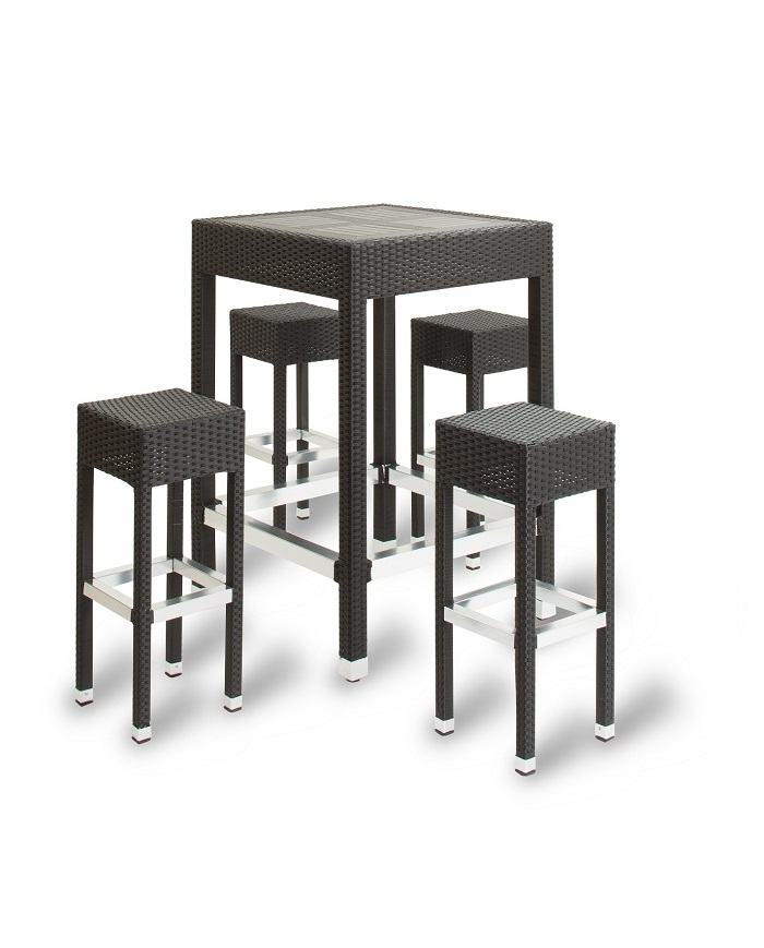 Global Contract Furniture IZZI Outdoor Wicker Weave Poseur Table & Stool Set