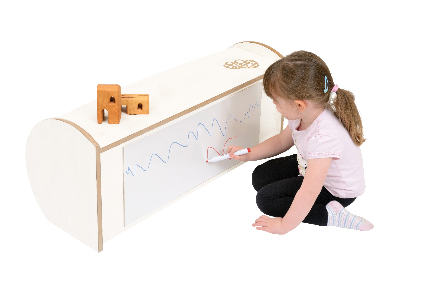 Twoey Toys Mini Range Wooden Shelf Unit with Dry-wipe Whiteboard Back